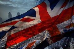 Union Jack flag and iconic London landmarks Royalty Free Stock Photo