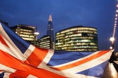 Union Jack flag and iconic London landmarks Stock Photos