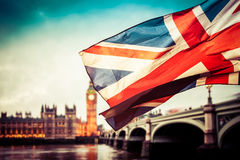 Union Jack flag and iconic London landmarks Royalty Free Stock Photos