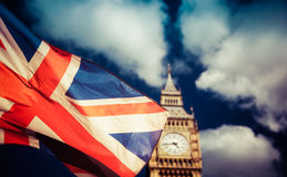Union Jack flag and iconic London landmarks Stock Photos