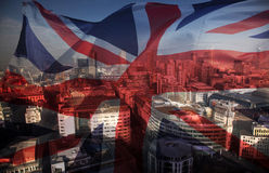 Union Jack flag and iconic London landmarks Stock Images