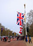 Union Jack Flag on the Mall in Westminster along with commonwealth country flags. The Mall, London, UK, April 2018. The Mall is hosting the Commonwealth Heads of Stock Images