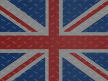 Union Jack flag over metallic diamond plate Royalty Free Stock Images