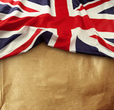 Union Jack flag. On paper background stock photo