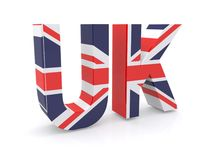 Union Jack flag sign. Abstract 3d UK sign formed from Union Jack flag with white background stock images