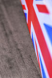 Union jack. Flag speaker grill sat on a wooden table Royalty Free Stock Photography