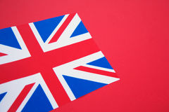 Union Jack Flag of UK. On Red Card Background stock image