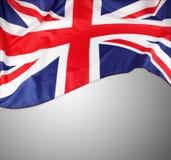 Union Jack flag. On grey background Stock Photo