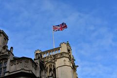 Union Jack, flag of the United Kingdom on a building. London, City of Westminster, Great Britain. Flag of the United Kingdom on a building. Union Jack, London stock images