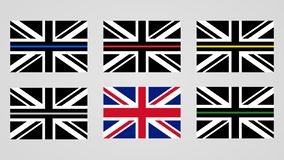 Union Jack flag of the United Kingdom. And thin line sign flags vector illustration