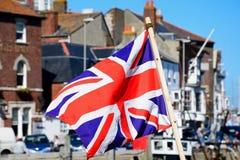 Union jack flag, Weymouth. Union Jack flag in the harbour, Weymouth, Dorset, England, UK, Western Europe Stock Photos