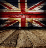 Union Jack flag. On wooden boards Royalty Free Stock Photos