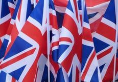 Union Jack-Flaggen für Verkauf Stockbild