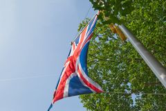 Union jack on a flagpole stock images