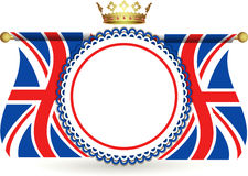 Union jack flags crown and rosette Stock Photos
