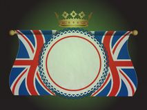 Rosette banner with union jack flags and crown Stock Photos