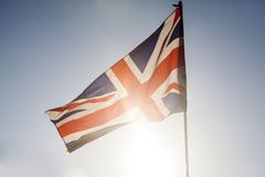 Union jack flying in the sky Stock Photos