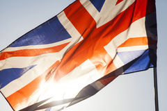 Union jack flying in the sky Royalty Free Stock Photo