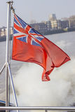 Union Jack flying in the wind. On a boat Royalty Free Stock Image