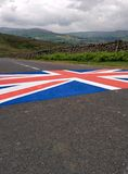 Union Jack on Grinton Moor. A flag painted for the 2014 tour de France in Yorkshire stock photography