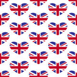 Union Jack Heart pattern. Seamless background with Flag of Great Britain in the shape of heart isolated on white background. For wallpaper, wrapping paper Stock Photo