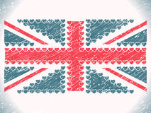 Union jack hearts grunge flag. Abstract vector art illustration Royalty Free Stock Photos