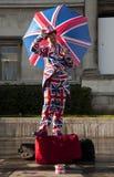 Union Jack human statue in London. Union Jack flag human statue in London, UK Stock Photography