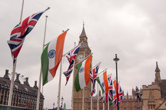 Union Jack and Indian flag, Big Ben, London, UK. Royalty Free Stock Images