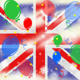 Union Jack Means United Kingdom And Backdrop Royalty Free Stock Image