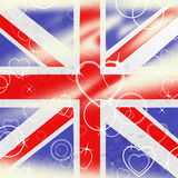 Union Jack Means United Kingdom And Britain. Union Jack Showing Heart Shapes And Valentin Royalty Free Stock Images