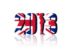 2013 with union jack. New Year 2013 with Union Flag - a 3d image stock illustration