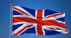 Union Jack no vento contra o céu azul claro, ilustração 3d ilustração stock