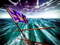 Union Jack over oceaan Stock Fotografie