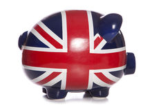 Union jack piggy bank profile Stock Images