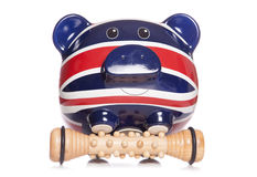Union jack piggy bank spa massage Royalty Free Stock Photography