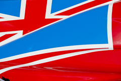 Union Jack on Race Car. The colors and crest of the national flag of Great Britain painted on the body work of a race car stock photo