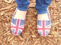 Union Jack flag shoes at Olympics royalty free stock image