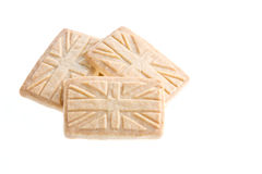 Union Jack Shortbread. Shortbread biscuits in the style of a Union Jack flag, isolated against a white background Stock Photography