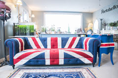 Union jack sofa isolate on white background with clipping path.  Royalty Free Stock Photo