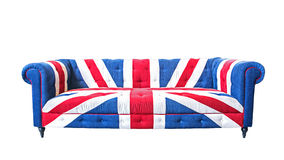 Union jack sofa isolate on white background with clipping path.  royalty free stock image