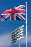 Union Jack and Sports Floodlights royalty free stock photography