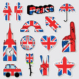 Union jack stickers. Collection of great britain stickers in a union jack style Royalty Free Stock Image