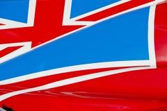 Union Jack sur la voiture de course Photo stock