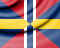 Union Jack of Sweden and Norway. Stock Photos
