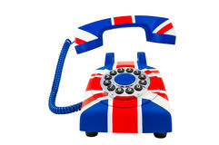 Union Jack-telefoon met de drijvende die zaktelefoon met patroon van de vlag van Groot-Brittannië op witte achtergrond wordt geïs Royalty-vrije Stock Afbeeldingen