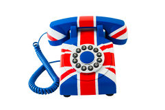 Union Jack telephone with pattern of Great Britain flag isolated on white background Royalty Free Stock Photography
