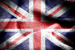 The Union Jack. Texture of sackcloth with the image of the Union Jack Stock Photography