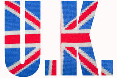 Union Jack U.K. The national flag (Union Jack) of the United Kingdom knitted Stock Photos