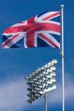 Union Jack und Sport-Scheinwerfer lizenzfreie stockfotografie