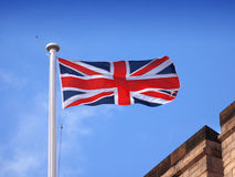Union Jack (Union Flag) of Great Britain. Union Jack flying over British Castle (Union Flag Royalty Free Stock Image